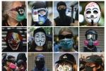Graphic displaying the variety of face masks that have been seen at Hong Kong's protests since June.
