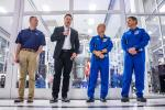 (L-R) NASA Administrator Jim Bridenstine, SpaceX founder Elon Musk, and astronauts Doug Hurley and Bob Behnken speaking during a news conference at SpaceX headquarters in Hawthorne, California on October 10, 2019