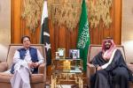 A picture provided by the Saudi Royal Palace shows Crown Prince Mohammed bin Salman (R) during his meeting with Pakistan's Prime Minister Imran Khan in the capital Riyadh on October 15, 2019