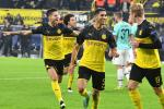 Achraf Hakimi (C) celebrate after getting the winner as Borussia Dortmund came from two goals down to beat Inter