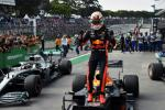 Red Bull driver Max Verstappen celebrates after winning the Brazilian Grand Prix