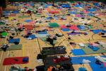 Protesters have been sleeping in a gymnasium at the beseiged PolyU campus