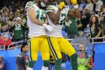 Comeback: Davante Adams of the Green Bay Packers celebrates a touchdown with teammate Jake Kumerow in the fourth quarter of the Packers' NFL victory over the Detroit Lions