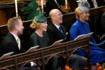 L-R: Peter and Autumn Phillips with Mike and Zara Tindall attend a wedding in 2018