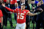 Kansas City quarterback Patrick Mahomes celebrates the Chiefs' Super Bowl victory over the San Francisco 49ers