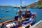 British solo rower Graham Walters, 72 arrives in Antigua on April 29, 2020 after nine weeks of rowing across the Atlantic