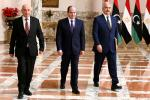 Egyptian President Abdel Fattah al-Sisi (C), Libyan strongman Khalifa Haftar (R) and the Libyan Parliament speaker Aguila Saleh at a joint press conference in Cairo Saturday