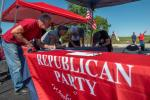 People register to vote during a Republican event in Brownsville, Pennsylvania
