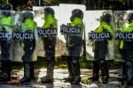 Seven people were killed and hundreds injured in rioting in the Colombian capital Bogota