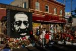 A mural of George Floyd near the site where he died in in Minneapolis, Minnesota