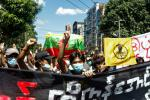 Myanmar protestors in Yangon demonstrate against the coup. Dozens of reporters have been detained under the junta's crackdown