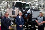 """US President Joe Biden tours the Mack Trucks Lehigh Valley Operations Manufacturing Facility in Pennsylvania during his """"Buy American"""" push that he says will boost the US economy"""