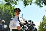 US Capitol Police Chief Thomas Manger speaks to the press near the US Capitol as authorities investigate a bomb threat