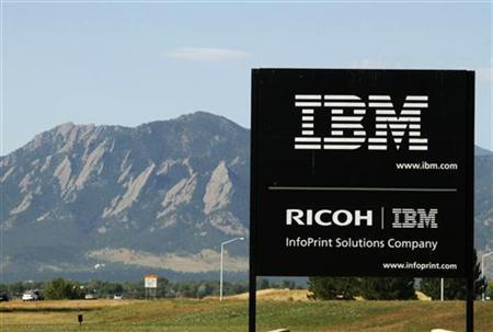 The sign at the IBM facility near Boulder, Colorado is seen with the Boulder Flatiron mountains in the background