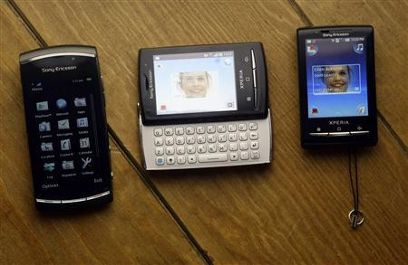 Sony Ericsson phone models Vivaz Pro, Xperia X10 Mini Pro and Xperia X10 Mini are displayed at the Mobile World Congress in Barcelona