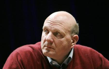 Microsoft CEO Steve Ballmer listens to question during keyn
