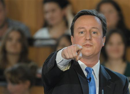 Britain's opposition Conservative Party leader David Cameron waits to addresses an audience in London
