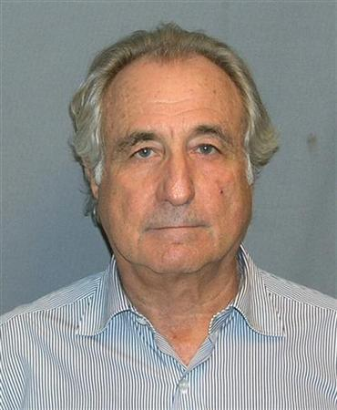 Booking mug shot of Bernard Madoff