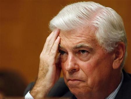 Banking Committee Chairman Dodd listens to testimony on Capitol Hill in Washington