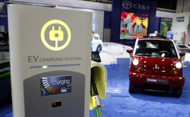 Electric Car Charging Station At North American International Auto Show In Detroit