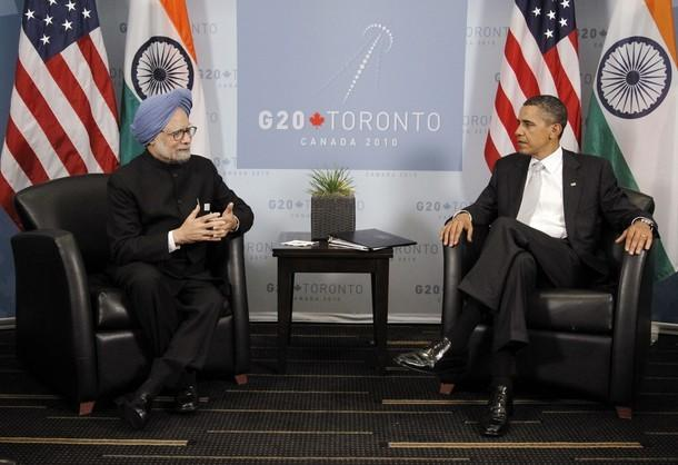 U.S. President Barack Obama, right, conducts a bilateral meeting with India's Prime Minister Manmohan Singh at the Group of 20 Summit in Toronto on June 27, 2010.