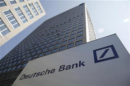 The Deutsche Bank headquarters in Frankfurt are pictured