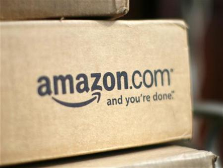 A box from Amazon.com is pictured on the porch of a house in Golden, Colorado July 23, 2008.