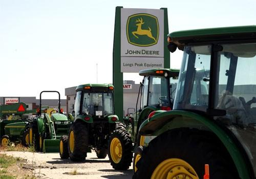 John Deere commercial vehicles are seen at a dealer in Longmont, Colorado