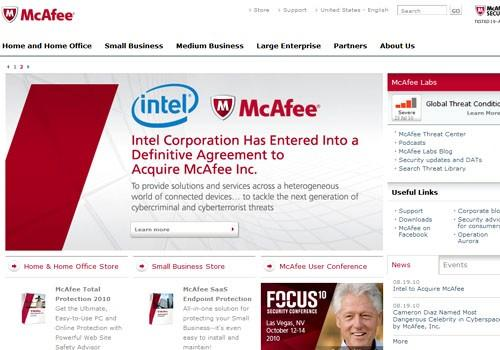 McAfee corporate homepage