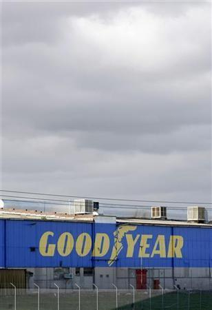 The Goodyear logo is seen at the South Pacific Tyres facility in Somerton, Victoria, about 20km from Melbourne