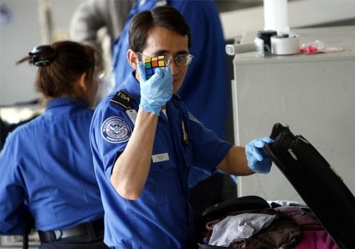 A U.S. Transportation Security Administration (TSA) officer at Los Angeles International Airport