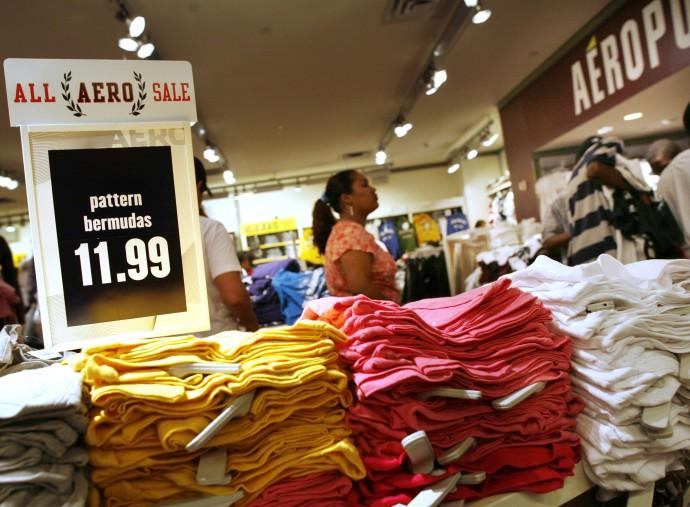 Customers wait in line at an Aeropostale store in New York