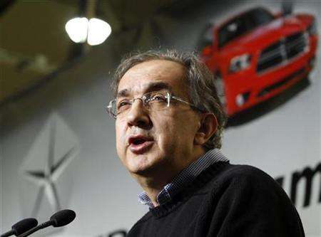 Chrysler Group LLC CEO Marchionne speaks during the production launch of Chrysler vehicles at the assembly plant in Brampton