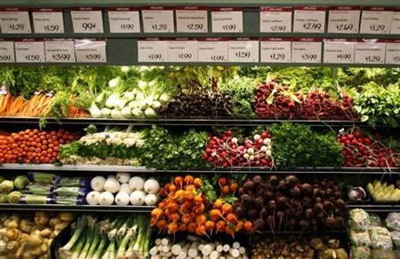 Organic vegetables are shown at a Whole Foods Market in LaJolla , California