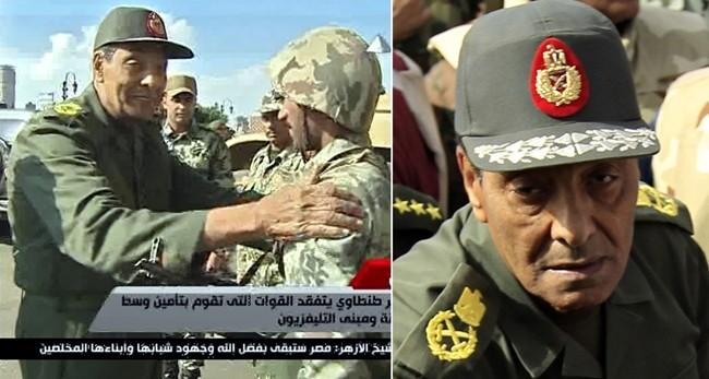 In this combined image, Egypt's Defense Minister Mohammed Hussein tantawi is shown meeting soldiers within Tahrir Square in Cairo on January 30, 2011 (Left), and again on February 4, 2011. Video grab (left) credit: Egypt State Television. Still Photo cred