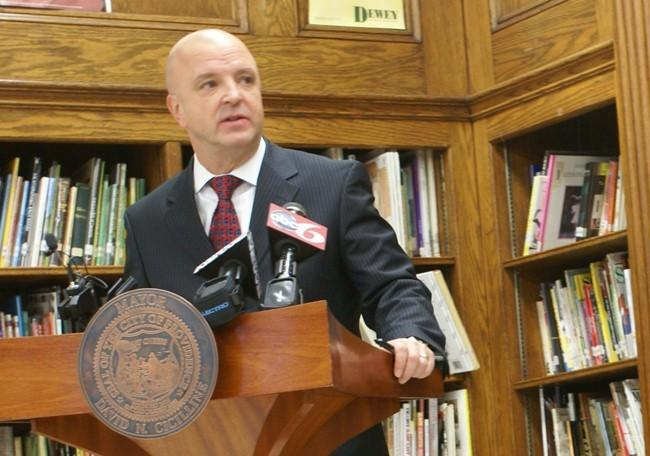 Providence Teachers Union President Steven F. Smith speaks at a press conference on January 19, 2010.