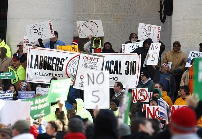 A large group of union supporters gather on the steps of the Ohio Statehouse to rally against Senate Bill 5 in Columbus, Ohio, March 1, 2011.