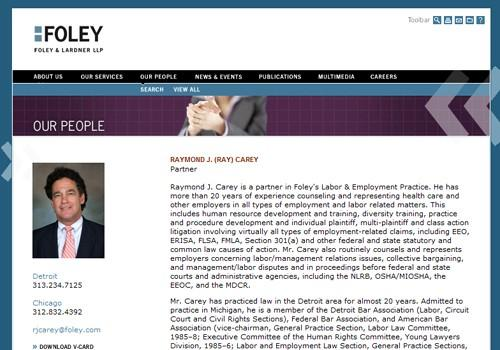 Profile of Raymond J. Carey on Foley & Lardner website