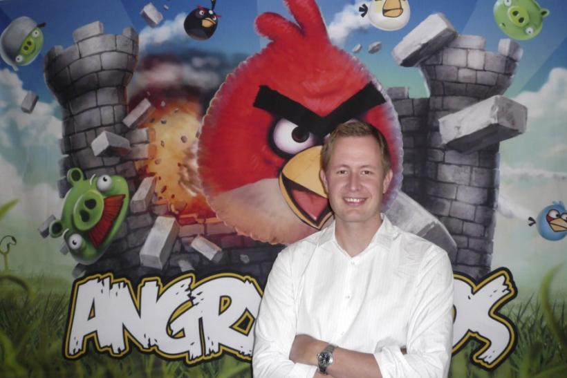 Angry Birds Still PopularAngry Birds CEO Mikael Hed stands in front of a mural depicting his game