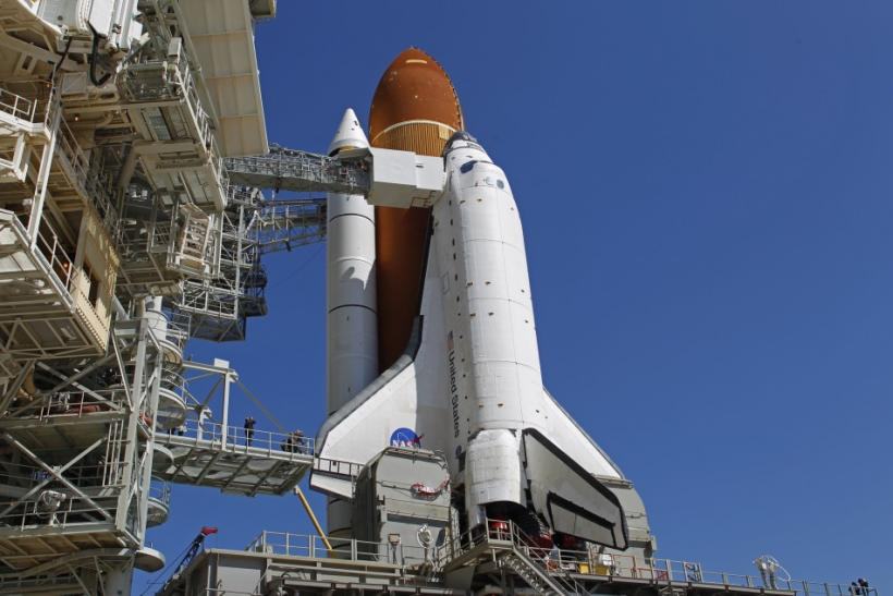 Space shuttle Endeavour sits atop launch pad 39A before Mission STS-134 at the Kennedy Space Center in Cape Canaveral