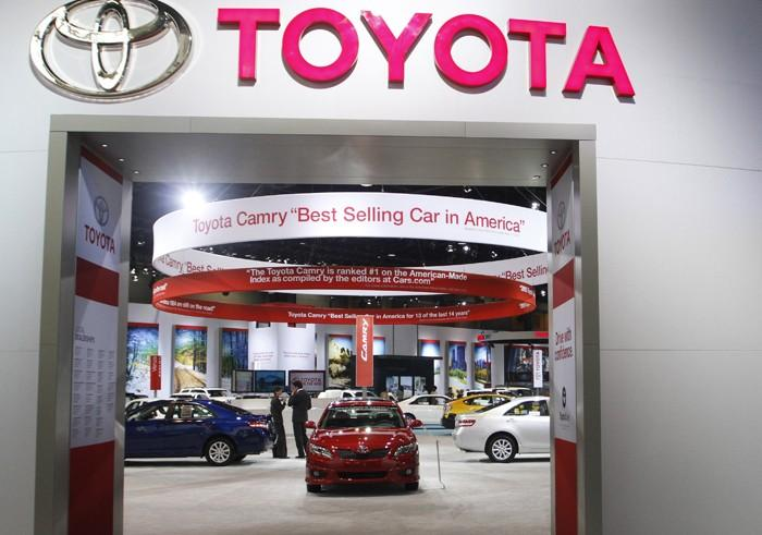 Toyota cars are displayed during the first media preview day at the 2011 Chicago Auto Show in Chicago