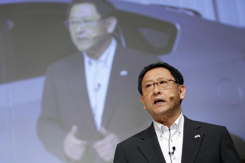 Japan's Toyota Motor Corp President Akio Toyoda speaks during a joint news conference with Salesforce.com Chief Executive Officer Marc Benioff in Tokyo May 23, 2011.