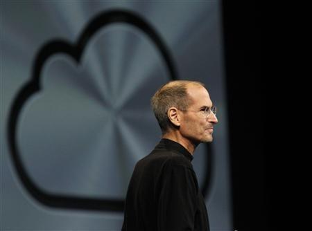 Apple Inc CEO Steve Jobs takes the stage to discuss the iCloud service