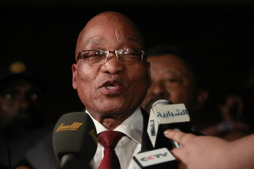 South Africa's President Jacob Zuma gives a statement after meeting with Libyan leader Muammar Gaddafi at Gaddafi's Bab al-Aziziya residence in Tripoli April 10, 2011.