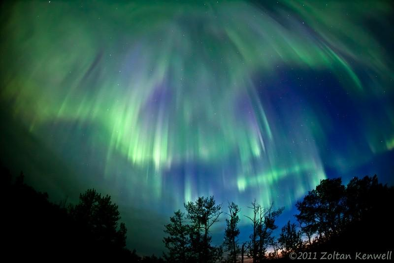 Raining auroras in the Alberta prairies east of Edmonton, Canada.