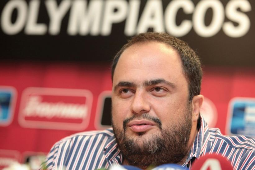 lympiakos Piraeus president Marinakis addresses reporters during a presentation of a new player in Piraeus