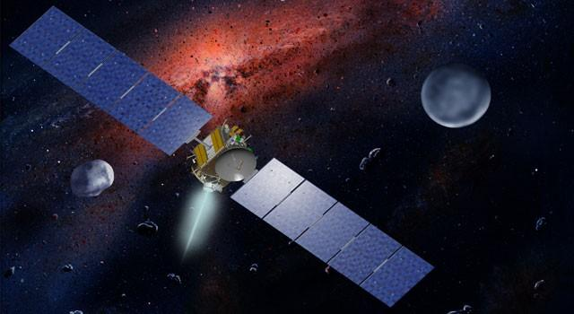 NASA's Dawn spacecraft, illustrated in this artist's concept, is propelled by ion engines. Image