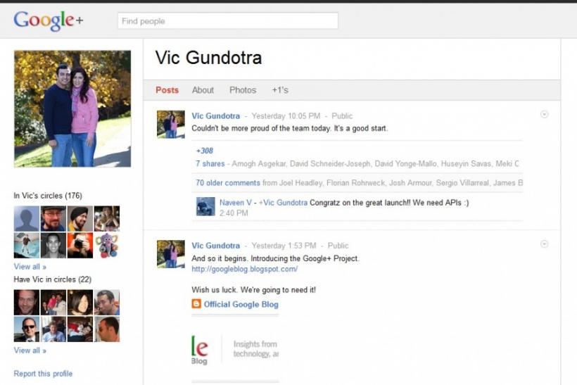 Google Plus Screen Shot