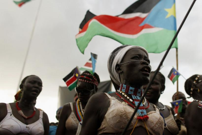 A tribeswoman dances during the Independence Day celebrations in Juba