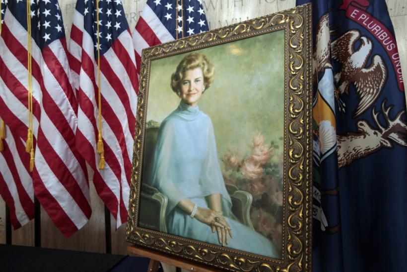 A portrait of the late Betty Ford, the wife of the late President Ford, is seen in the Gerald R. Ford Museum in Grand Rapids